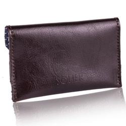 Skórzany cienki portfel wizytownik solier sw19 ciemny brązowy - ciemny brąz