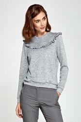 Szary sweter z falbanką