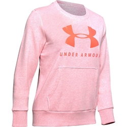 Bluza damska under armour rival fleece sportstyle graphic crew - różowy