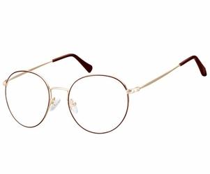 Okulary  lenonki okrągłe oprawki optyczne 915g złoto-czerwone