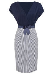 Sukienka z dżerseju bonprix niebiesko-biały w paski