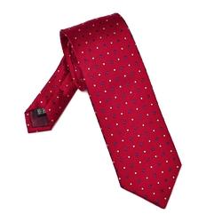 Elegancki czerwony krawat VAN THORN w kropki