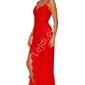 Czerwona koronkowa długa suknia wieczorowa 696