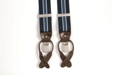 Granatowe szelki męskie z niebieskim paskiem uniwersalne z zapięciem na guziki lub klipsy