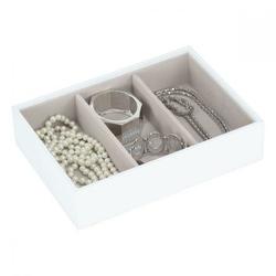 Pudełko na biżuterię 3 komorowe classic Stackers biało-beżowe