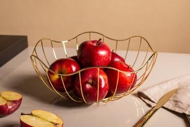 Koszyk metalowy  druciany na owoce złoty altom design kwiat 28 cm