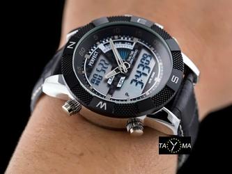 Czarny zegarek meski z podświetleniem PERFECT A857 zp195c