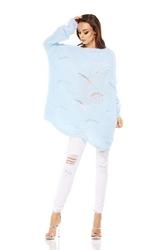 Błękitny Sweter Oversize z Dekoltem w Łódkę na Długi Rękaw