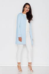 Niebieski Prosty Pastelowy Płaszcz bez Zapięcia