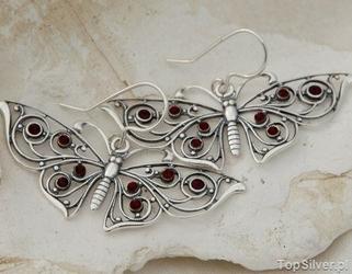 Motyle - srebrne secesyjne kolczyki z granatem