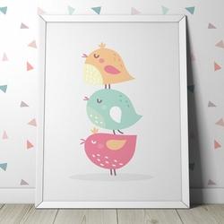 Pastelowe ptaszki - plakat dla dzieci , wymiary - 50cm x 70cm, kolor ramki - biały
