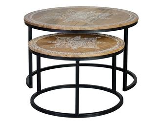 Drewniany stolik alhena ręcznie malowany  zestaw 2 szt.