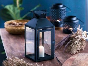 Latarenka  latarnia  lampion ozdobny wiszący metalowy altom design kwadratowa czarna 28 cm