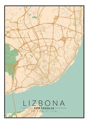 Lizbona mapa kolorowa - plakat wymiar do wyboru: 40x60 cm