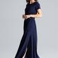 Granatowa sukienka maxi z podkreśloną talią
