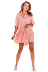 Luźna koszulowa pudrowa sukienka z falbanką