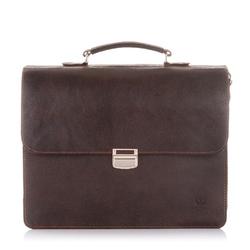 Skórzana torba teczka męska vintage paolo peruzzi s-04 brązowa - brązowy