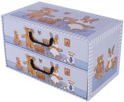 Pudełko 2 szufladki poziome misie niebieskie