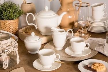 Zestaw kawowy dla 6 osób porcelana mariapaula ecru 21 elementów
