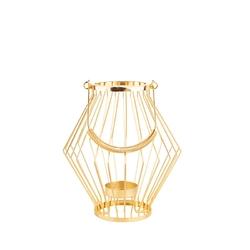 Świecznik  lampion metalowy altom design szprosowy złoty 19 x 19 x 20 cm