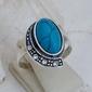 Tempoli - srebrny pierścionek z turkusem i kryształami