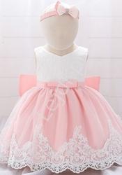 Sukienka dla dziewczynki z haftami- komplet z opaską