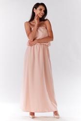 Pudrowa maxi sukienka z odkrytymi ramionami