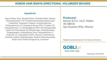 Kemon hair manya directional volumizer, mocna pianka na objętość włosów 250ml