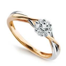 Staviori pierścionek. 7 diamentów, szlif brylantowy, masa 0,14 ct., barwa i-j, czystość i1-i2. żółte, białe złoto 0,585. średnica korony ok. 6 mm
