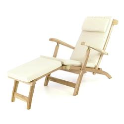 Leżak florentine z drewna teakowego kremowy