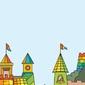Tablica suchościeralna dla dzieci kolorowy zamek 332