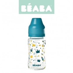 Beaba butelka szklana szerokootworowa 240 ml yellow  blue crown
