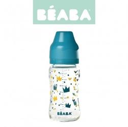 Beaba butelka szklana szerokootworowa 240 ml yellow  blue crown