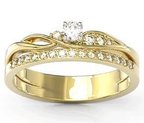 Pierścionek z żółtego złota z białym szafirem i brylantami bp-77z - żółte  szafir white