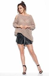Ażurowy sweter z wyciętymi ramionami - latte
