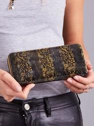 Skórzany portfel damski lakierowany na zamek złoty lorenti - złoty