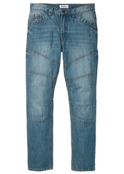 Dżinsy regular fit straight bonprix niebieski medium bleached dirty overdyed