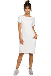 Sukienka midi z krótkim rękawem w sportowym stylu ecru b050