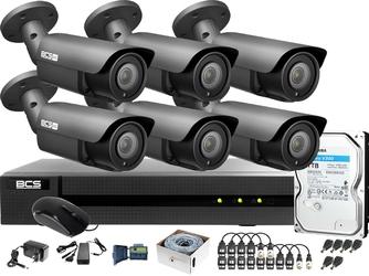 Monitoring po skrętce bcs basic 2mpx 1tb h265+ 6 x kamera tubowa 2.8-12mm ir 40m