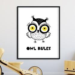 Owl rules - plakat dla dzieci , wymiary - 50cm x 70cm, kolor ramki - biały