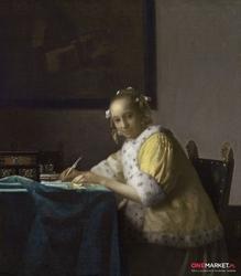 kobieta pisząca list -  jan vermeer ; obraz - reprodukcja