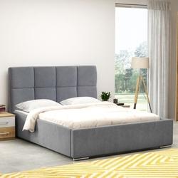 Klasyczne łóżko tapicerowane do sypialni fegen z kwadratowymi przeszyciami na zagłówku