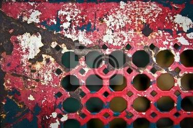 Fototapeta grille métallique rouge