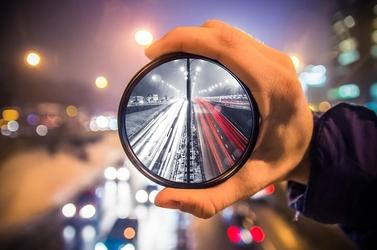 Warszawa w obiektywie światła miasta - plakat premium wymiar do wyboru: 84,1x59,4 cm