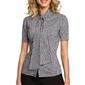 Koszulowa bluzka w kratkę z kokardą pod szyją - czarny