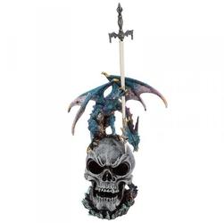 Niebieski smok na czaszce - figurka z nożykiem do listów