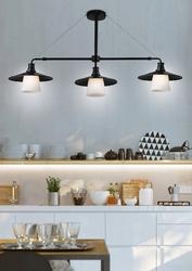 Lampa wisząca loft potrójna, czarna podstawa, białe klosze candellux 33-43115