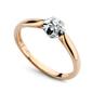 Staviori pierścionek. 1 diament, szlif brylantowy, masa 0,05 ct., barwa h, czystość si2. żółte, białe złoto 0,585. średnica korony ok. 6 mm. wysokość 4 mm. szerokość obrączki ok. 1-1,5 mm.