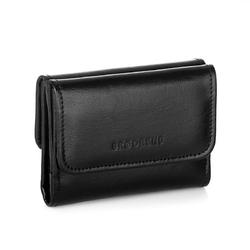 Minimalistyczny skórzany portfel damski brodrene a-07 czarny