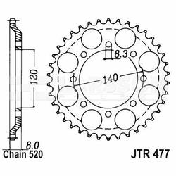 Zębatka tylna stalowa JT 477-43, 43Z, rozmiar 520 2300354 Kawasaki KLR 600